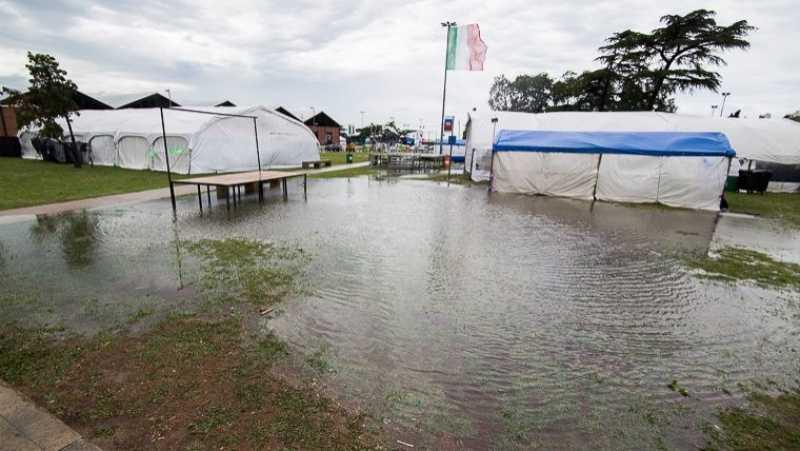 El predio de las Colectividades quedó pasado por agua tras tres días de lluvia