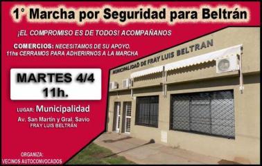 El martes, Beltrán marchará contra la Inseguridad frente al Municipio