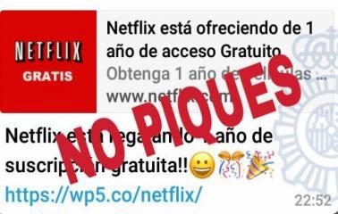 Advierten sobre una falsa promoción de Netflix por Whatsapp que promete un año gratis