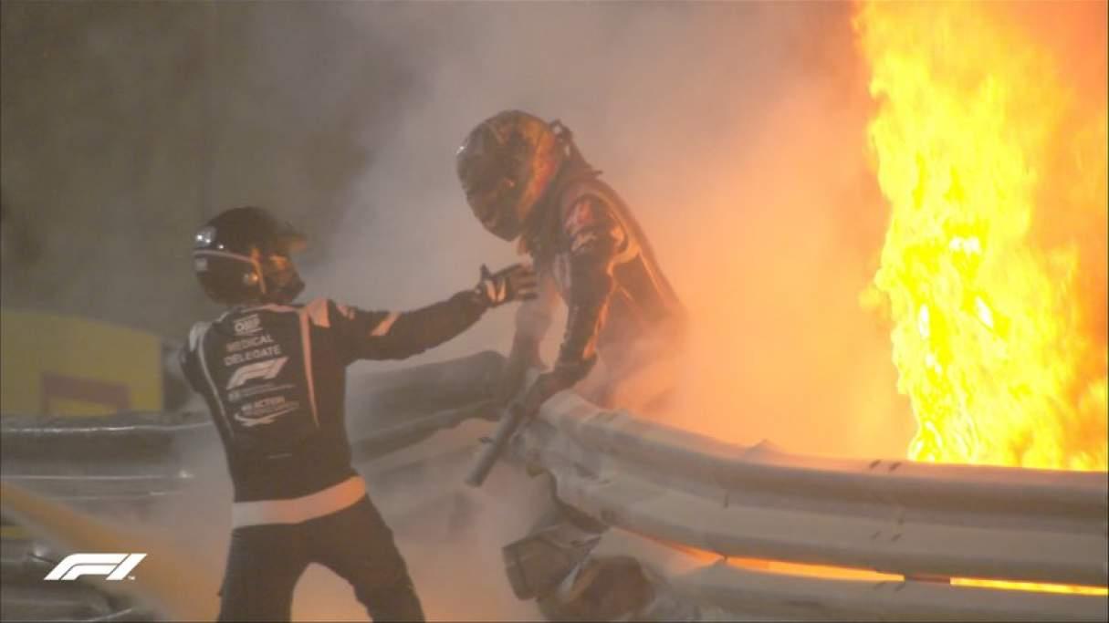 Accidente en la Fórmula 1: Grosjean sufrió una explosión, fuego y el auto partido en dos