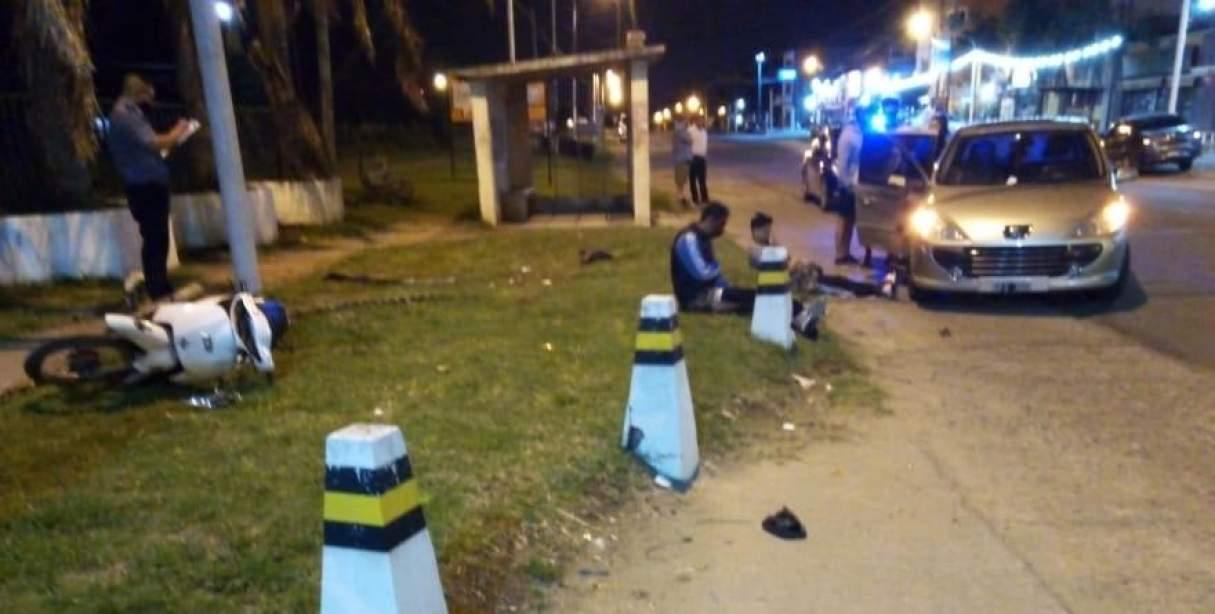 Un herido tras un accidente entre un auto y una moto en Fray Luis Beltrán