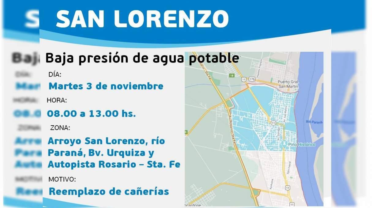 Por tareas programadas habrá baja presión de agua el martes en San Lorenzo