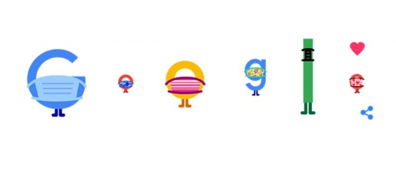 Google lanzó un doodle para incentivar el uso de tapabocas