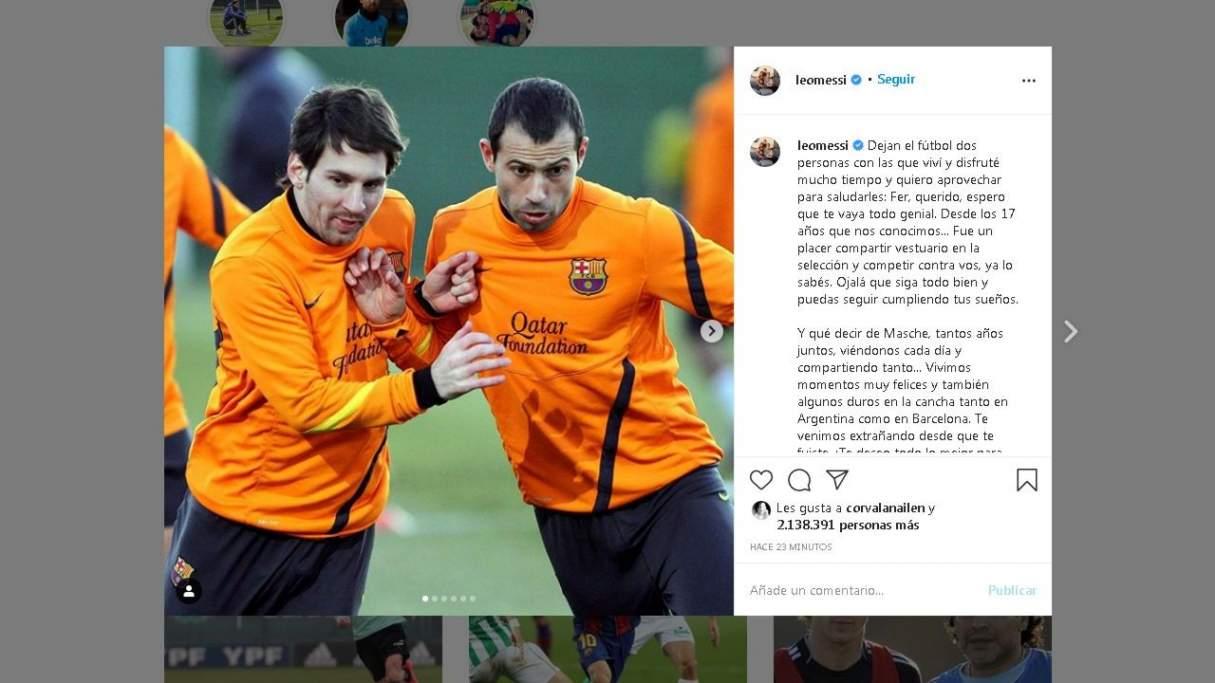 Lionel Messi despidió en redes a Mascherano y a Gago por sus retiros