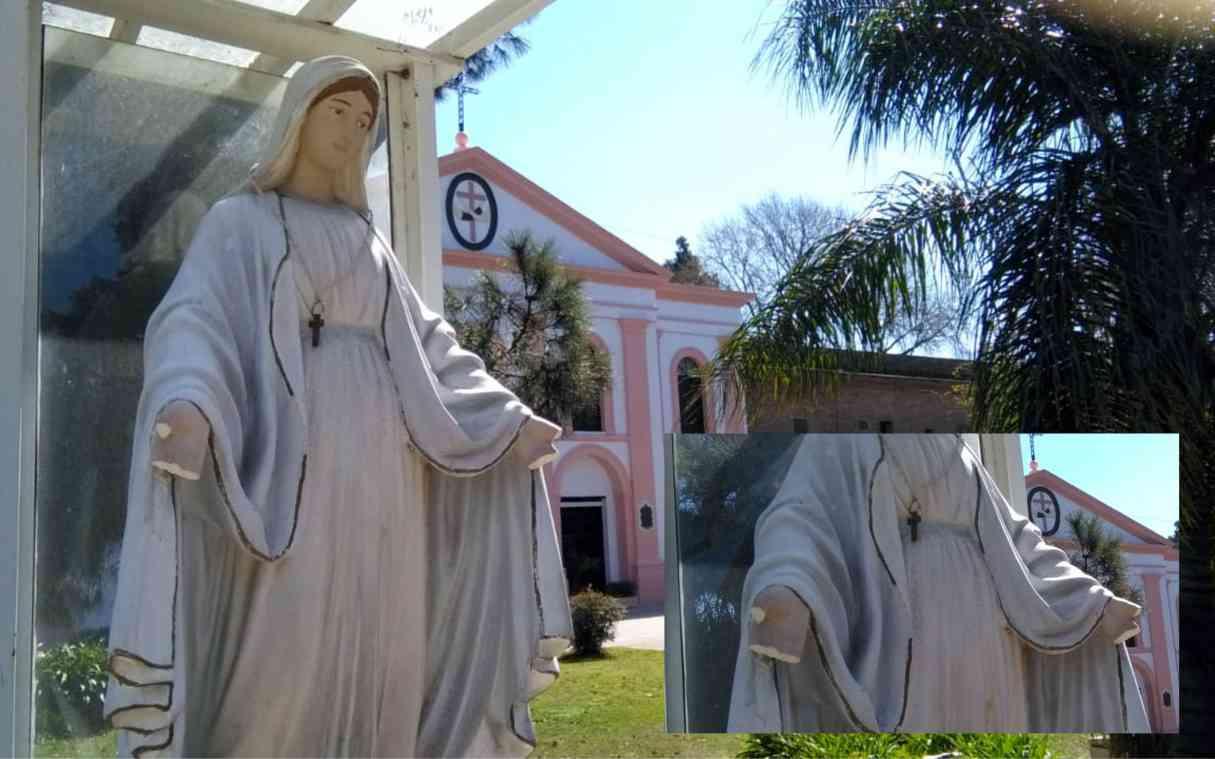 Vandalismo: le cortaron las manos a una Virgen en San Lorenzo