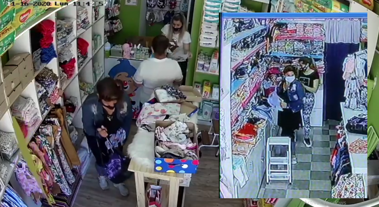 Escrachan a una mechera que robó dos comercios de ropa para niños VIDEO
