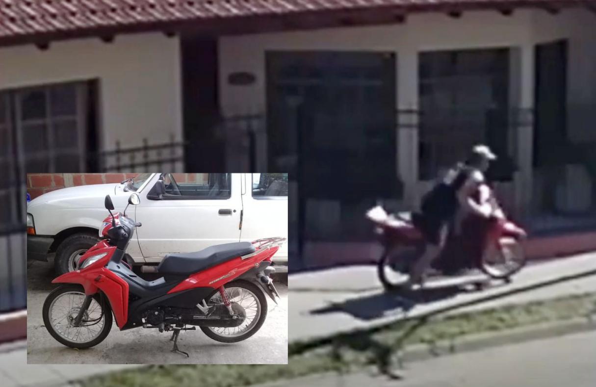 VIDEO: le robaron la moto de la puerta del trabajo en Fray Luis Beltrán