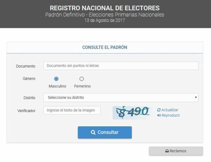 Elecciones 2017: está disponible el padrón definitivo CONSULTALO ACÁ