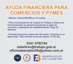 Accedé a la asistencia financiera para comercios y pymes en Fray Luis Beltrán